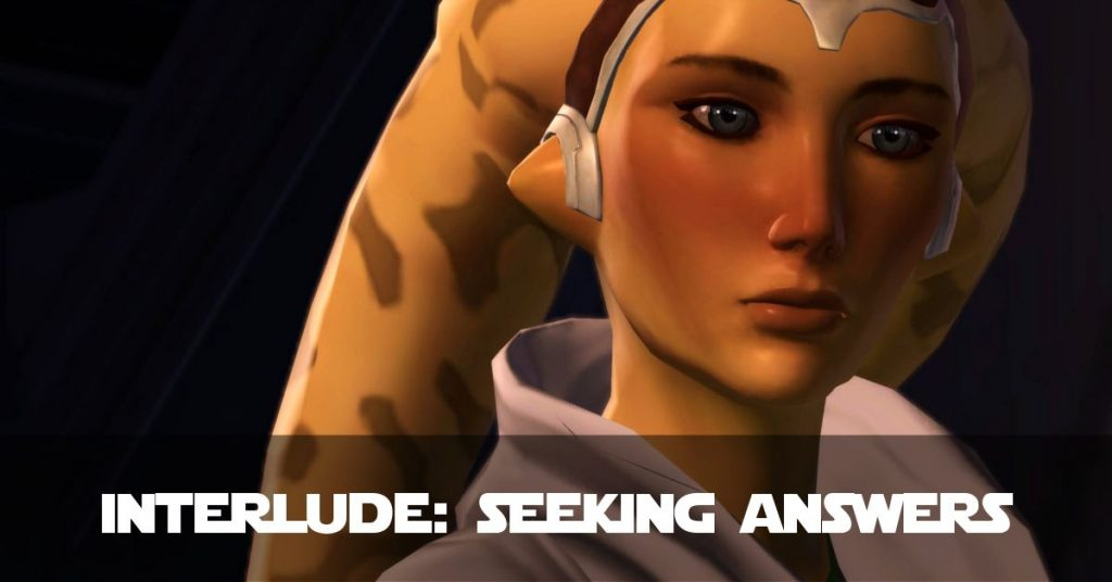 A Twi-lek Jedi character. Text reads: Interlude: Seeking Answers