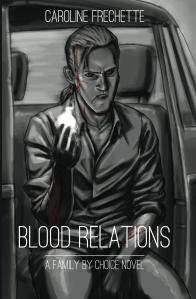 Cover image for Blood Relations: A sketch in grayscale with a man with a ponytail sits in a car, holding out a hand that has a huge flame in its palm.