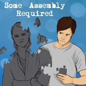 Image for Some Assembly Required. A brunette man is putting together a greyed puzzle that is the image of another man.