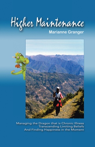 Higher Maintenance Cover: Sky-blue background. A woman stands on a path through a mountain range on a clear day.
