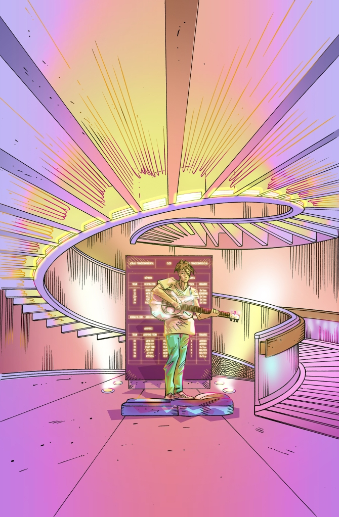Artwork by Dominic of a spiralling staircase with streams of golden light. Standing at the ground floor is a busker playing guitar.