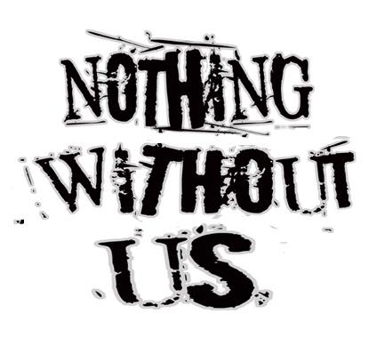 ID: Logo for the Nothing Without Us anthology. Black spray-painted title against a white background.