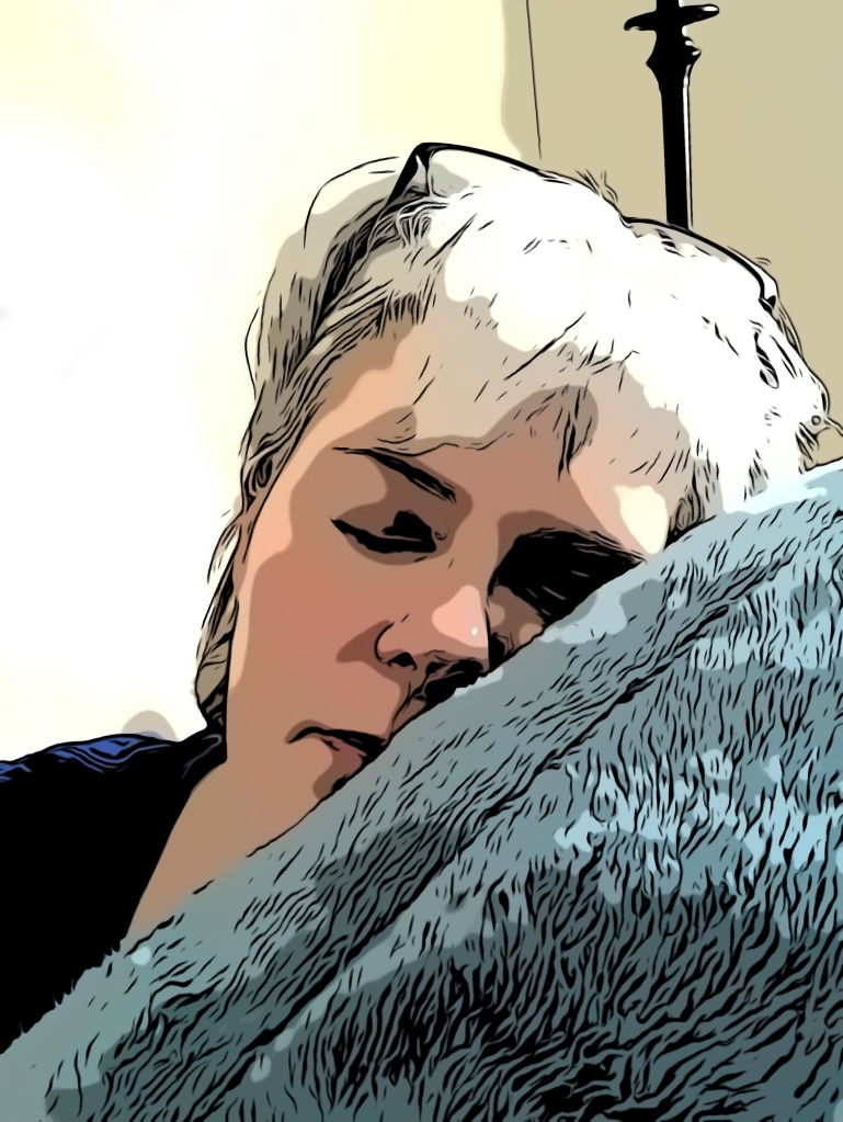 Coloured sketch image of Cait asleep on a furry pillow.
