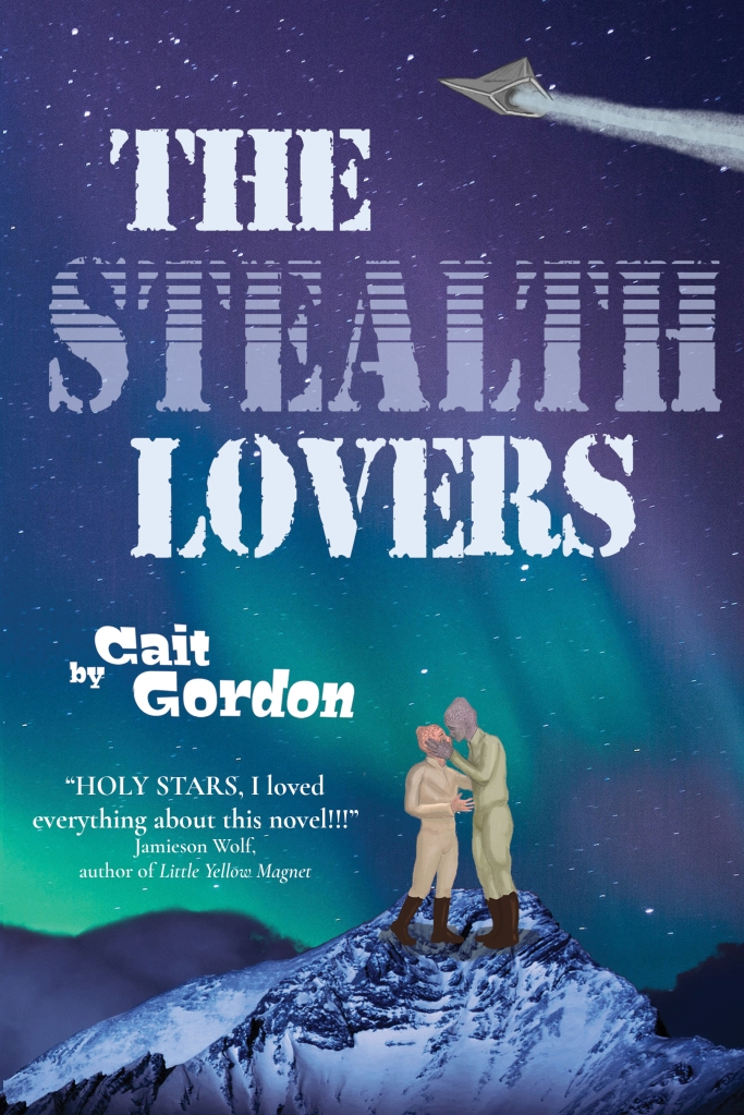 The Stealth Lovers book cover: Two Draga warriors (one with coral scales and the other with mauve scales) are dressed in flight suits, standing on a snowy mountaintop,under an aurora-filled sky, about to engage in a kiss. Overhead flies a stealth ship.