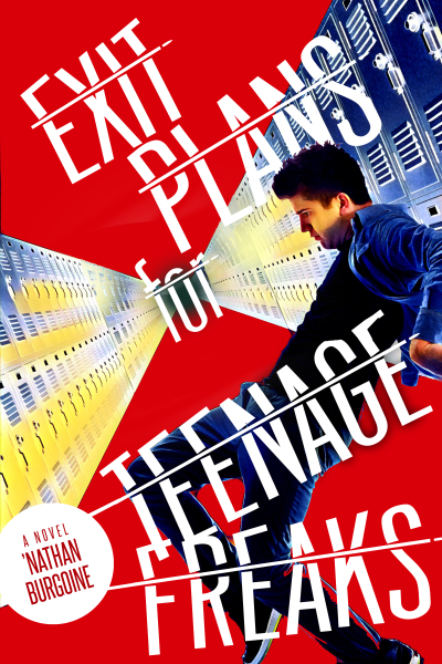Book cover of Exit Plans for Teenage Freaks. A force (depicted in red) pulls a teenager through a locker room area into the unknown.