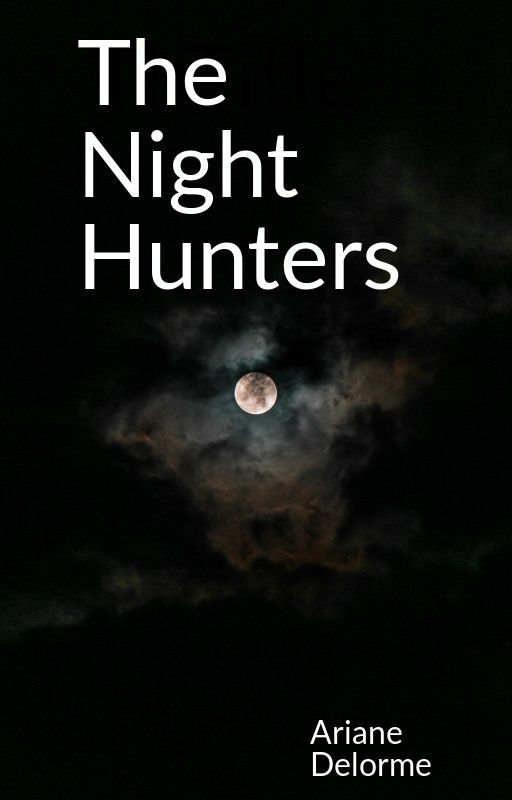 Book cover for the Night Hunters. A dark sky with a full moon glowing through the clouds.