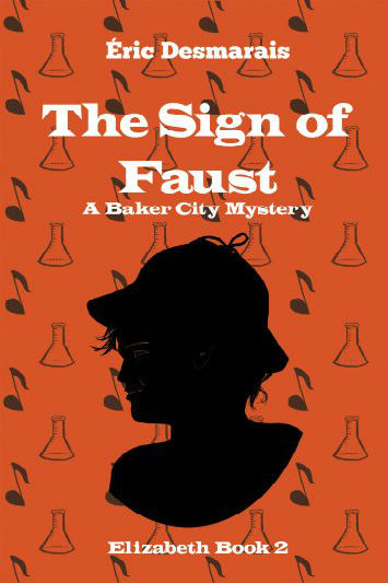 Book cover for The Sign of Faust: Deep orange background with almos clip-art designs od music and beakers. A cameo silhouette of a girl wearing a Sherlock Holmes hat.