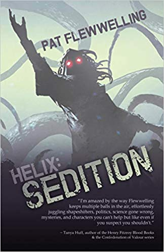 Book cover of Helix: Sedition by Pat Flewwelling. A dark being with glowing red eyes raises a hand. In the background loom many tentacles.