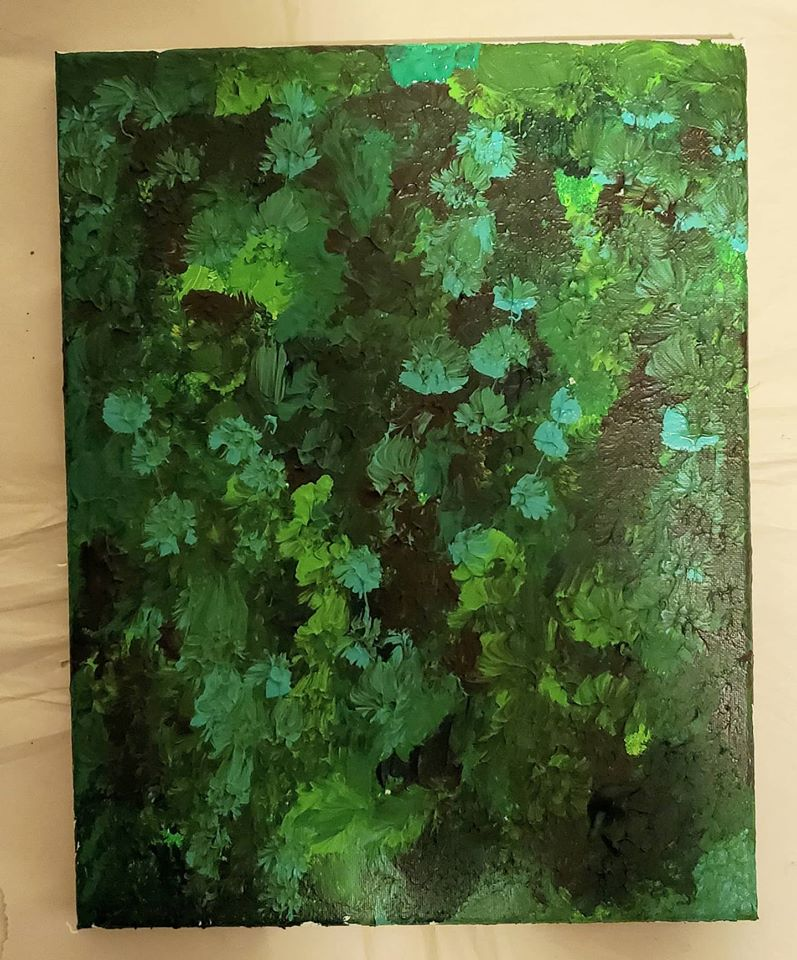 Green abstract painting, giving the impression of old and new leaves growing in a jungle. There's combination of light and darkness that adds depth to this work.