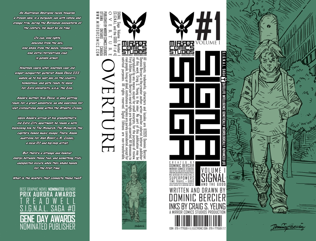 ID: Dominic Bercier's #1 Volume 1 cover of SIGNAL SAGA. A lone man walks with hands in his pockets, a frown upon his face. The drawing is inked in black and coloured in shades of grassy greens.