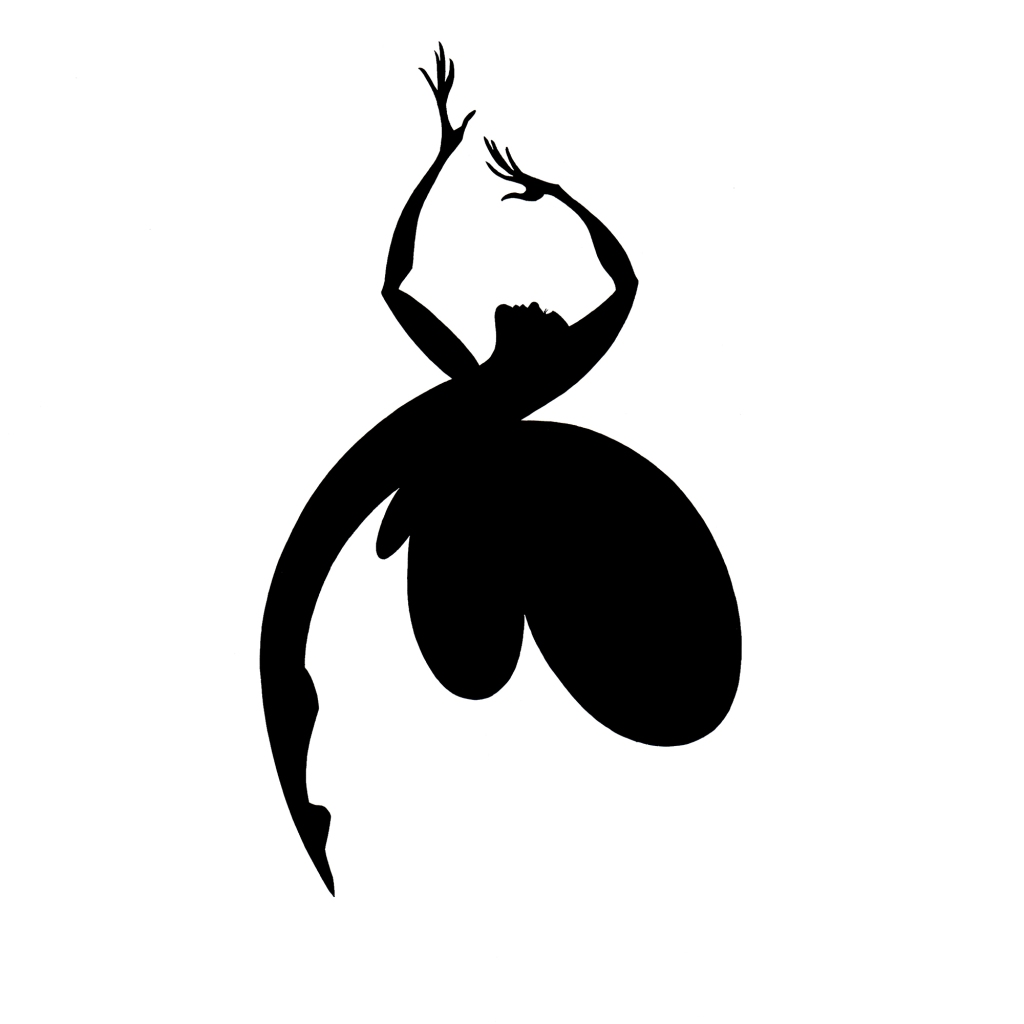 ID: Black and white graphic of a arched human figure with butterfly wings.