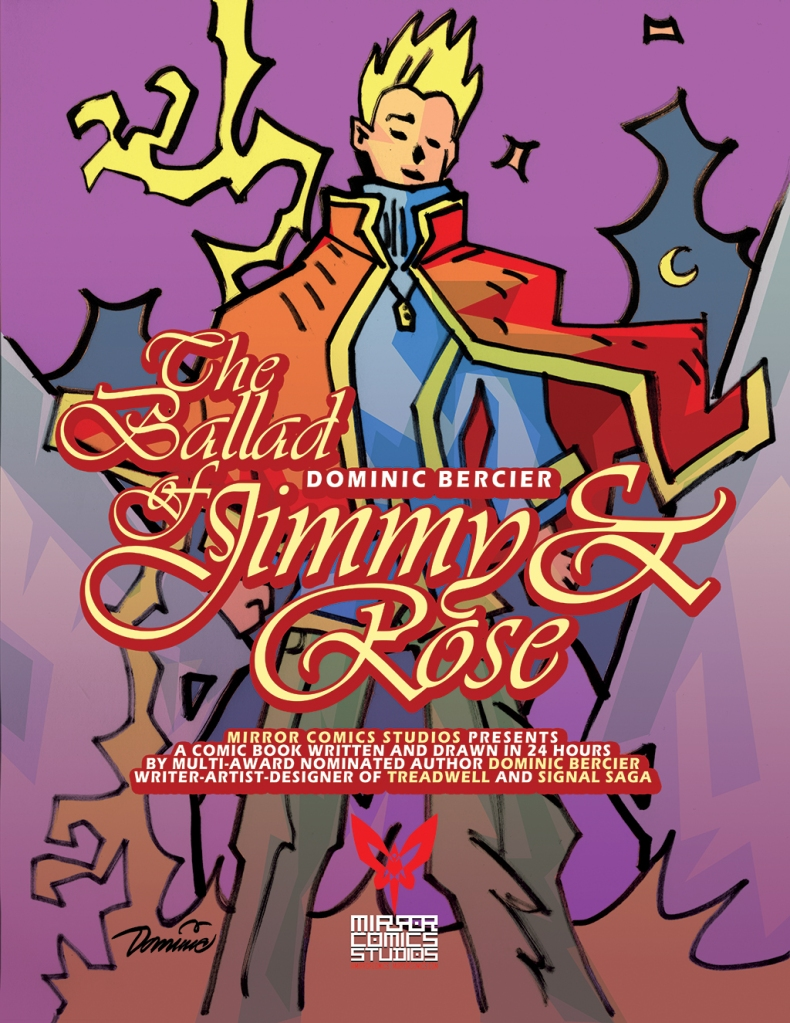ID: Book cover of The Ballad of Jimmy & Rose. A blonde boy dressed in a blue and yellow tunic over beige trousers is also sporting a vivid orange and yellow cloak. Around his neck in an amulet. He stands under a purple and black moonlit sky, and it lightning sparks behind him.