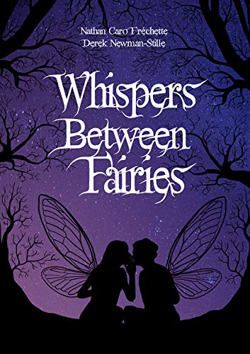 Book cover: Purple sky with black silhouette of bare trees and two fairies whispering
