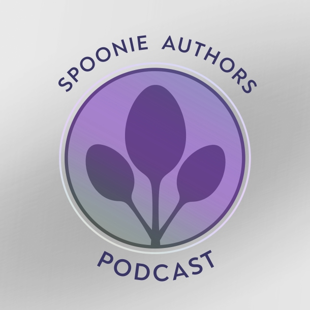 ID: Spoonie Authors Podcast logo. Grey background with a purple and grey gradient circle and white outline. Inside the circle are three purple spoons.