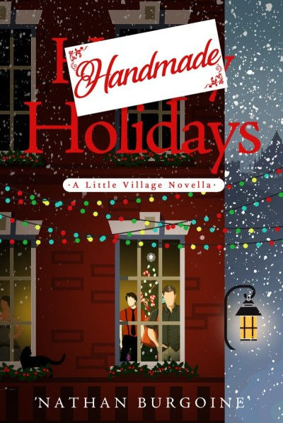 Book cover: A red brick building with multiple stories. In the bottom right corner are two men staring out the window, and a lit Christmas tree is in the background. It's snowing outside and there are Christmas lights strung in the foreground.