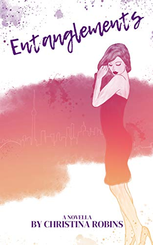 Book cover image description: Drawing of a beautiful woman with long hair, wearing a form-fitting dark strapless dress and light high heels. She is adjusting an earring as she looks down. A silhouette of the Toronto landscape is faintly made out within a smokey cloud of purples and oranges.