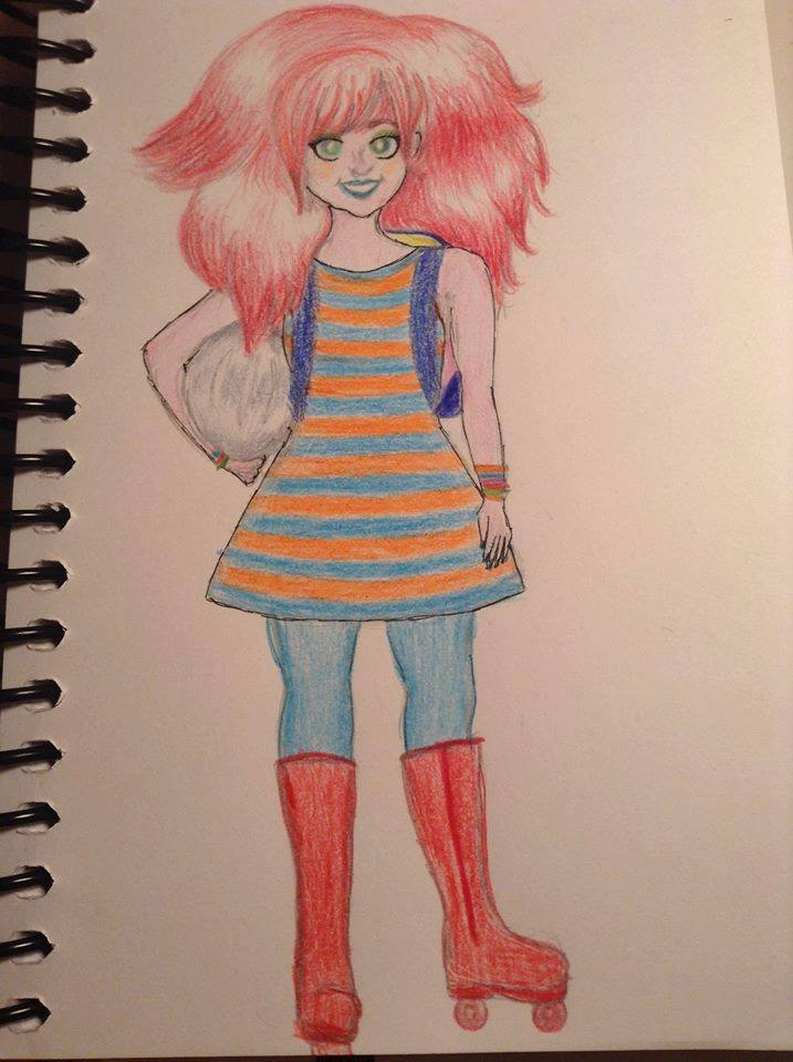 ID: Fan art coloured pencil drawing of Noola Quirk from Life in the 'Cosm, chapter 3, by August Zacher. She has poofy scarlet red hair, a blue and orange tunic dress, blue leggings, and tall red roller boots. She's holding a silver helmet in her right hand and sporting a blue backpack. She has a bright smile.
